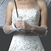 Lace/ Voile Fingertips Elbow Length Wedding Bridal Gloves