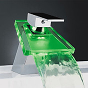 Color Changing LED Waterfall Bathroom Sink Faucet with Glass Spout