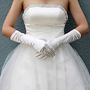 Satin Bridal Fingertips Elbow Length Gloves