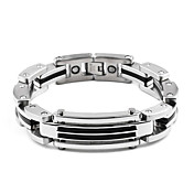 Men's Silver Titanium Bracelet With Foldover Clasp