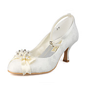 Lace Upper Spool Heel Closed Toe With Rhinestone Wedding Bridal Shoes More Colors Available