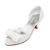 Top Quality Satin Upper Mid Heel Peep-toes With Bow Wedding Shoes/ Bridal Shoes .More Colors Available