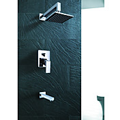Wall Mount Contemporary Chrome Rain Shower Faucet