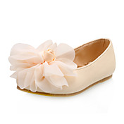 Leatherette Upper Low Heel Flats With Flower Wedding Flower Girl Shoes More Colors Available