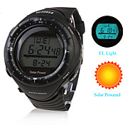 Reloj Pulsera de Energa Solar Impermeable, con Crongrafo, Alarma y Luz EL (negro)