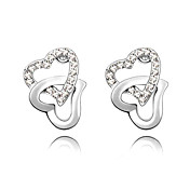 Double Heart Stud Earrings In Crystal And Platinum Plated Alloy