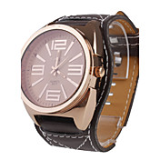 Unisex Big Dial Style PU Leather Quartz Wrist Watch (Brown)