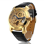Montre  Mcanisme Automatique, Bracelet en Cuir, Cadran Dor Grav