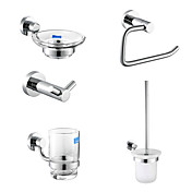 Chrome Finish 5-Piece Bathroom Accessory Set Toilet Brush Holder Inclusive