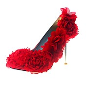Luxurious Leatherette Upper Stiletto Heel Pumps With Satin Flower Wedding/ Party/ Evening Shoes