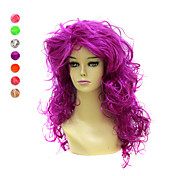 Capless Long High Temperature Wire Curly Costume Party Wig 7 Colors To Choose