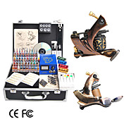 Damascus Hand-made 2 Tattoo Machines Kit with LCD Power and 40 Color Ink