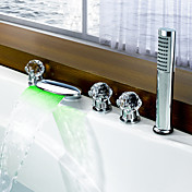 Color Changing LED Tub Waterfall Faucet with Hand Shower (Glass Handles)