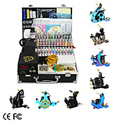 8 Guns Tattoo Kit with LCD Power and 55 Color Ink + Free 60ml Black Ink