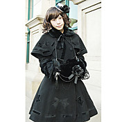 pitkhihainen musta bow pattern flanel gothic lolita takki