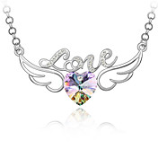 &quot;Love&quot; Winged Crystal Heart Necklace (More Colors)
