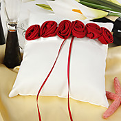 White Ring Pillow With Bold Red Luxury Rose Lined