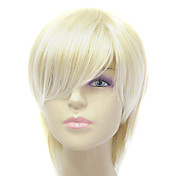 Capless Short Light Gold Straight Synthetic Hair Wig
