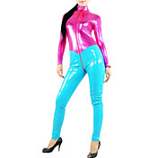 Fuschia Spandex and Cyan Women PVC Catsuit