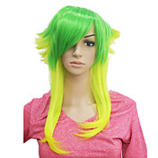 Capless Short Green Mixed Yellow Straight Synthetic Hair Wig