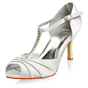Top Quality Satin Upper High Heel Peep-toes With Rhinestone Fashion Shoes