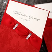 Asian Style Wedding Invitation With Embossed Red Sleeve (Set of 50)