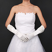 Satin Bridal Gloves With Rhinestone And Tulle