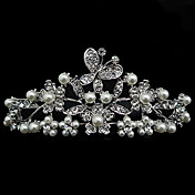 Rhinestone And Pearl Tiara With Butterfly