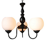 Elegant Chandelier with 3 Lights in White Shade