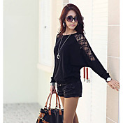 Pure Color Mesh Splicing Bat Sleeve Blouse (More Color)