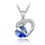 45-cm Double Heart Austrian Crystal Necklace
