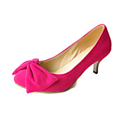 Suede Kitten Heel Closed Toe Shoes With Bow For Party/Evening (More Colors)