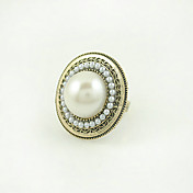 Medallion Ring With Imitation Pearl Center