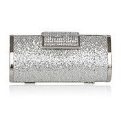 Silver Satin With Crystal/Rhinestone Evening Bag/Clutch