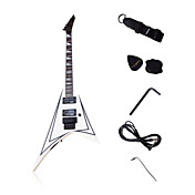 V-Form Heavy Metal E-Gitarre mit Zubehr in wei / schwarz