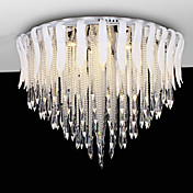 High-Class LED Semi Flush Mount with 9 Lights in Crystal