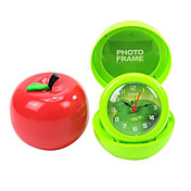 Novelty Apple Design Folding Alarm Clock with Photo Frame (Random Color)