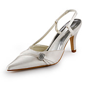 Satin Stiletto Heel Closed Toe / Slingbacks With Rhinestone Party Evening Shoes (More Colors Available)