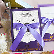Personalized Simple Design European Style Wedding Invitation With Lilac Bow (Set of 60)