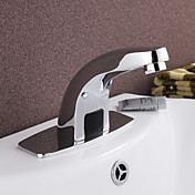 Contemporary Brass Bathroom Sink Faucet with Automatic Sensor
