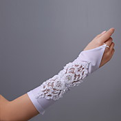Satin Bridal Fingerless Elbow Length Gloves With Beading