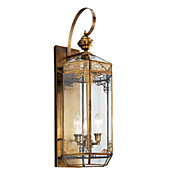 Golden Wall Light with 3 Lights in Glass Shade