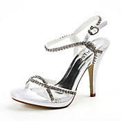 Satin Stiletto Heel Sandals Wedding Shoes With Rhinestone