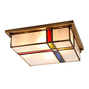 Stained Glass Flush Mount with 2 Lights