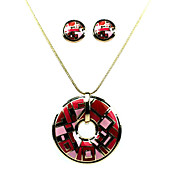 Red Pattern Ladies' Jewelry Sets In Alloy With Enamel Including Necklace & Earrings Set