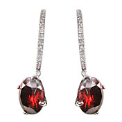 Fabulous Red Platinum Plated With Round Shape Cubic Zirconia Earrings