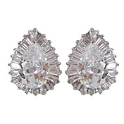 Unique White  Platinum Plated With  Irregular Shape Cubic Zirconia Earrings