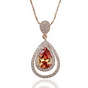 18K Gorgeous Fashion Rhinestone Alloy Tear Drop Necklace (More Colors)