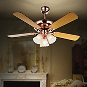 Contemporary Wooden Blades Hugger Ceiling Fan Lights with 3 Lights Floral Feature