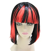 Capless Synthetic Red and Black BOB Style Straight Wig